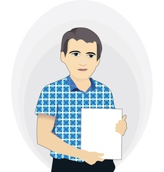 Businessman holding a blank poster vector image vector image