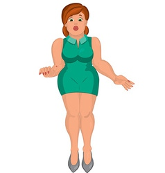 Cartoon young fat woman in green dress front view vector image vector image