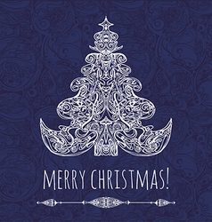christmas tree New Year card vector image vector image