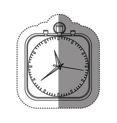 Sticker of monochrome stopwatch in shape square vector