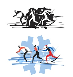 Three cross country skiers vector image