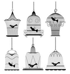 Vintage bird cage set vector image vector image