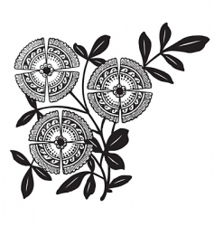 antique floral corner engraving vector image vector image