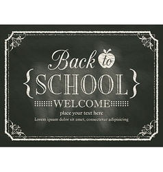 Back to School black chalk board background vector image