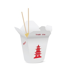 Chinese restaurant opened take out box vector image