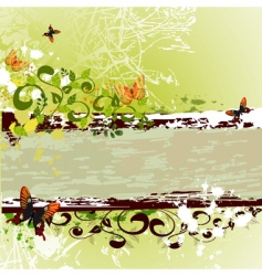 grunge banner design with butterflies vector image
