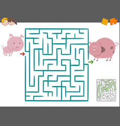 maze leisure game with pigs vector image