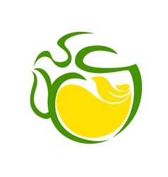 Very stylized cup of steaming tea with lemon vector