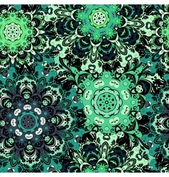 Vintage oriental seamless pattern in green colors vector image vector image