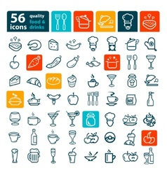 big food icon set vector image vector image