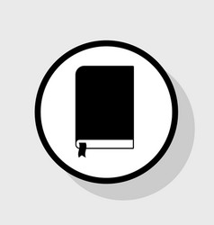 book sign flat black icon in white circle vector image vector image
