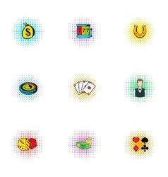 Casino icons set pop-art style vector image vector image