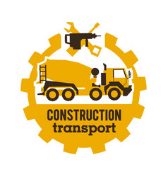 Logo concrete mixers construction vehicles vector