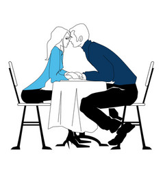 Meeting in the cafe the girl and the guy vector