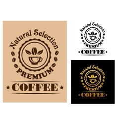 Natural Selection Premium Coffee label vector image