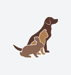Pets silhouettes dog cat and rabbit logo of pet vector image