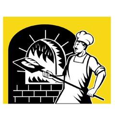 baker holding baking pan vector image