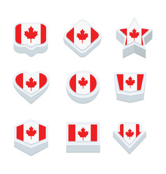 canada flags icons and button set nine styles vector image