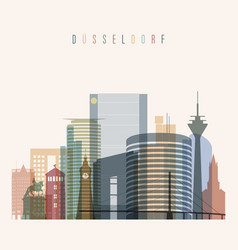 dusseldorf skyline detailed silhouette vector image vector image