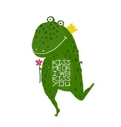 Fun Green Magic Frog Asking for Kiss Smiling vector image