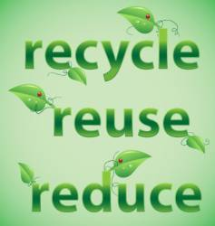 recycle reuse reduce leafy font vector image