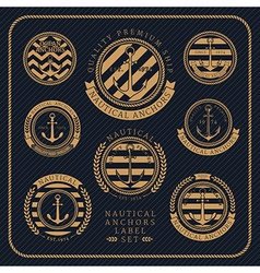 Vintage nautical anchors label set on dark striped vector image vector image