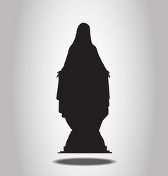 Virgin Mary Statue Silhouettes on the white backgr vector image