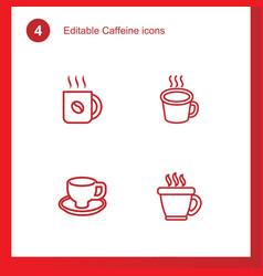 4 caffeine icons vector image