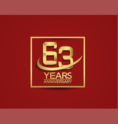 63 years anniversary with square and swoosh vector
