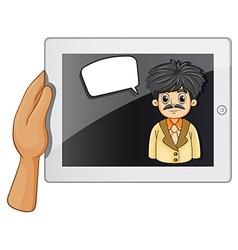 A man inside a gadget with a rectangular callout vector
