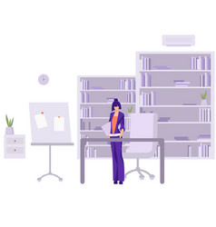 Accountant in work office female character in vector