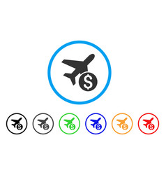 airplane price rounded icon vector image