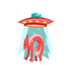 alien ufo spaceship taking away red fox flying vector image