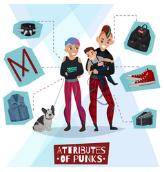 attributes punks cartoon vector image