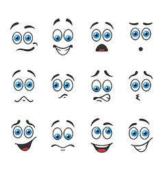 Blue eyes in different emotions vector image