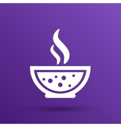 Bowl of Hot Soup with spoon Line Art Icon vector image
