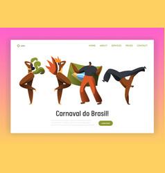 brazil carnival dancer character landing page vector image