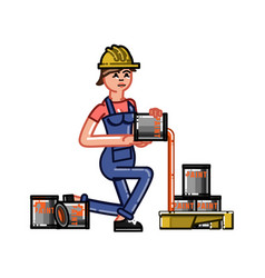 builder pours paint in the tray vector image