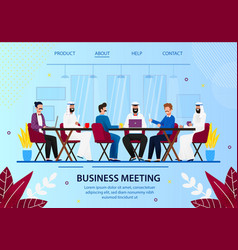 business office board meeting with arab partners vector image