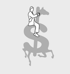 businessman sitting on the money vector image