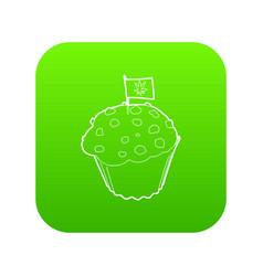 Cake and flag with marijuana leaf icon green vector
