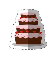 cake dessert red heart shadow vector image