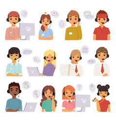 call center agents cartoon business people vector image