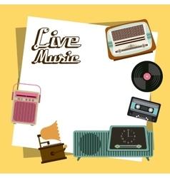 Cassette vinyl radio gramaphone icon vector