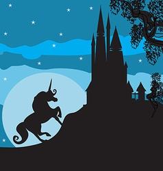 Castle and unicorn vector