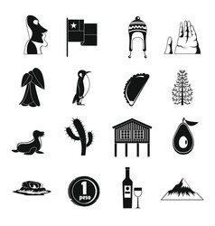 Cjile travel icons set simple style vector