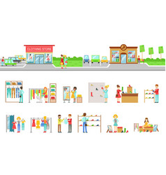 Clothing store exterior and people shopping set of vector
