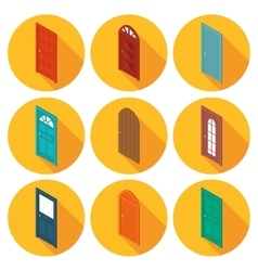 Color isometric set of flat icons doors vector