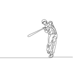 continuous one line baseball batter hit ball vector image