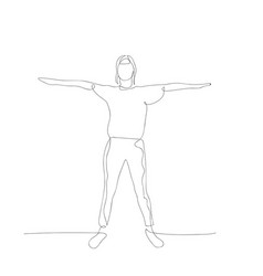 Continuous one line woman hold hands to sides vector